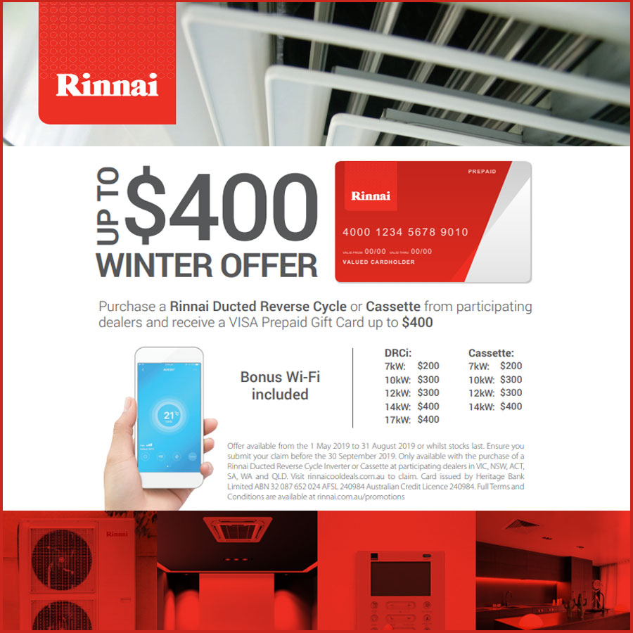 Rinnai $400 Winter Offer
