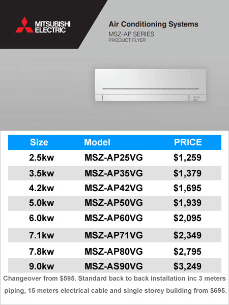 Special Offer Mitsubishi Air Conditioning Wall Splits